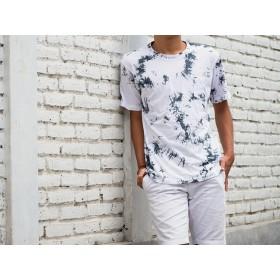 メンズムラ染めTシャツ <ホワイトブラック>