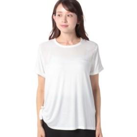 (BENETTON (UNITED COLORS OF BENETTON)/ベネトン(ユナイテッド カラーズ オブ ベネトン))サイドリボン異素材Tシャツ・カットソー/レディース オフホワイト
