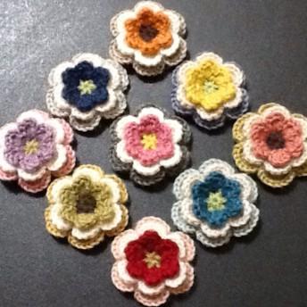 9個セット ︎純毛中細 で編んだ色とりどりのお花の立体モチーフ/40㎜/アソートC
