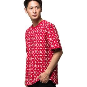 (キャバリア)CavariA メンズ 半袖 Tシャツ クルーネック ロゴ プリント ビッグシルエット 総柄 44(M) 30(RED/レッド)【-】