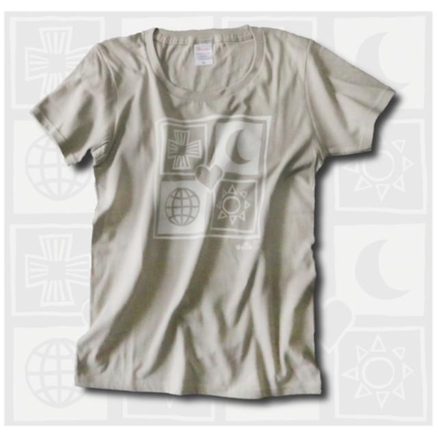 幸せを呼ぶユニバース レディースTシャツ シルバーベージュ 受注製作 WM、WL 2サイズ