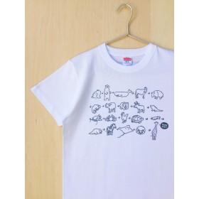 ☆送料無料☆定番Tシャツ「動物しりとり!」ホワイト