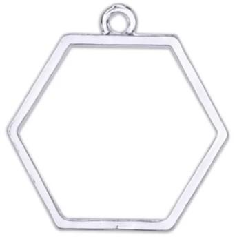 六角枠のレジン枠 シルバー 2個set