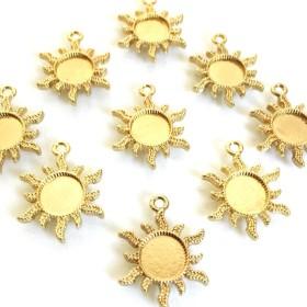小さな太陽のレジンミール皿(6個)レジンフレーム ゴールドチャーム 102UV691