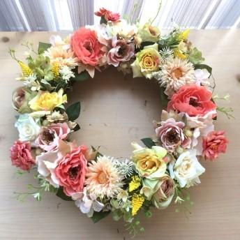 No. wreath-14800/★ギフト/花/玄関リース★/アーティフィシャルフラワー造花/バラとガーベラのガーデンリース/35cm