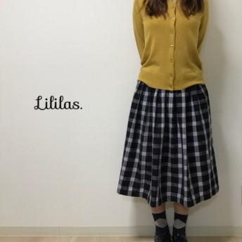 【再販×3】播州織り ブラックチェック ふんわり可愛い 起毛 ギャザースカート