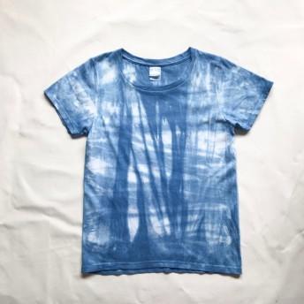 藍染絞り チェックTEE レディースLサイズ