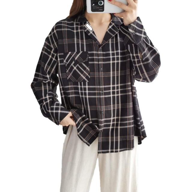 [Mushtree]シャツ レディース 開襟シャツ チェック シャツ ング ゆったり 秋 秋 チェックシャツ (BLK1)