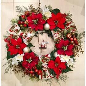 No. xmas-14331/★クリスマスリース40cm・アートフラワー造花リース★/ブランコ・サンタ&ポインセチア