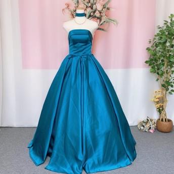 サテンカラードレス、ウェディングドレス、チョーカー付き、オーダーメイドドレス