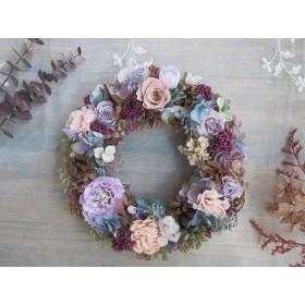 Bonheur Couronne<秋の綺麗色リース >*アンティーク*リース*プリザーブドフラワー お花*ギフト*結婚祝い*記念日*誕生日*敬老の日