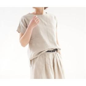 【wafu】中厚 リネン トップス ドロップショルダー ブラウス Tシャツ / 亜麻ナチュラル t001f-amn2