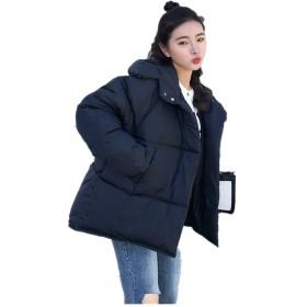 【Pandashop】の 冬の 韓国ファッション 暖かい 厚い服 成熟女性 パンスタイル オフィス 良い材質 ゆったりコート (ブラック, M)