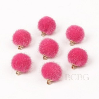 【10個入り】ころりん♪ファーボールチャーム ピンク φ約15mm