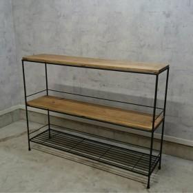 アイアンウッドシェルフ3段 アイアン家具 棚 ディスプレイ