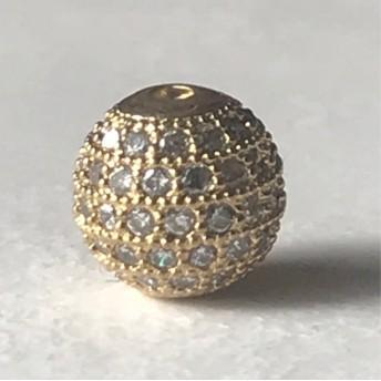 キュービックジルコニア C Z ラウンドビーズ 高級パーツ 10mm ゴールド1個