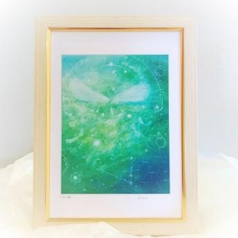 『いやしの森』【天使】A4額込アート