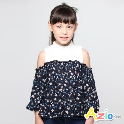 Azio Kids 女童 上衣 打摺立領配色露肩印花長袖上衣 (藍)