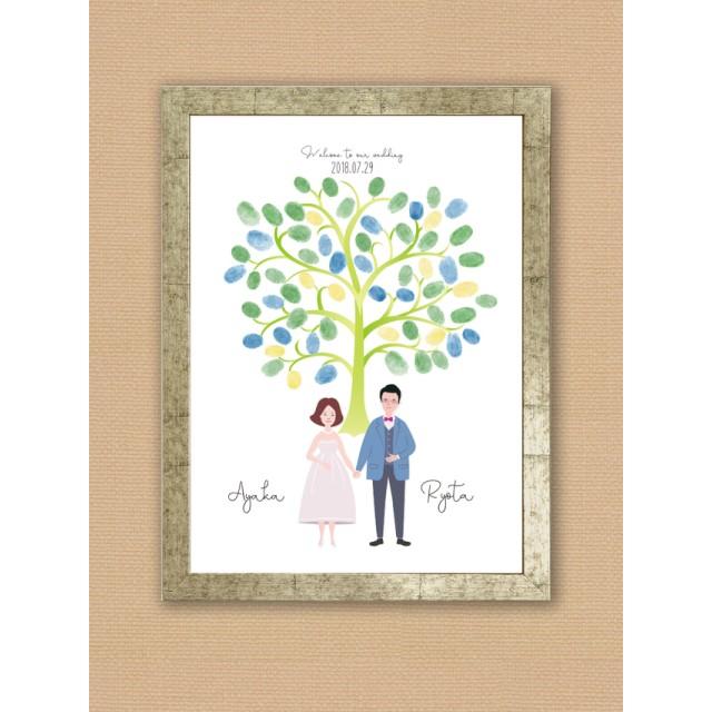 ほのぼの似顔絵シンプルウェディングツリー*樹木A3ポスター