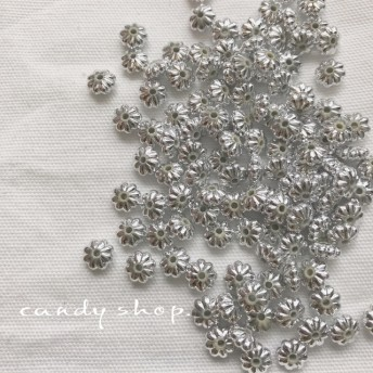 100pcs silver spacer beads flower mini