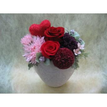 プリザ. 深紅のバラ&真っ赤なハート