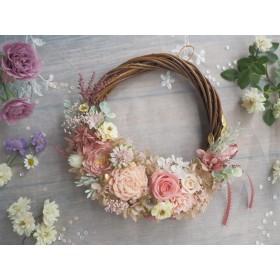 Lune Bonheur<Rose saumon>*受注制作*ハーフムーンリース*プリザーブドフラワー*お花*ギフト*結婚祝い*新築祝い*お誕生日祝い*ウェディング
