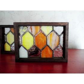 ステンドグラス ハチノス スタンドパネル 木枠/塗装 B