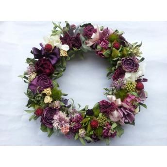 芍薬と薔薇のピンクリース!Natural driedflower wreath