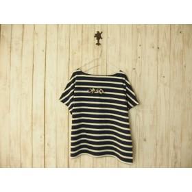 どっちもTシャツ(リボン)/紺白ボーダー×チャコールグレー