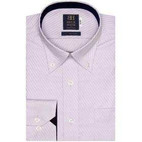 ブリックハウス ワイシャツ 長袖 形態安定 ボットーニ ボタンダウン 綿100% 標準体 メンズ BM019509AA12V4A-01 パープル LL-82