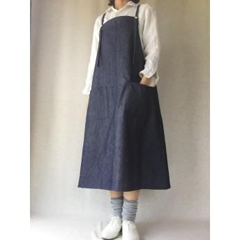 インディゴデニムのサロペットスカート