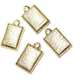 新作【4個入り】約118mmゴールドカラーleatherゴールドチャーム、パーツ