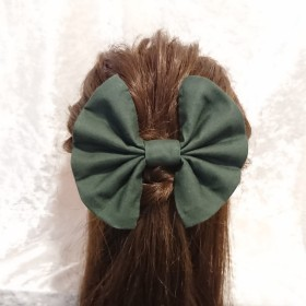 【No.3062】成人式 卒業式 髪飾り リボン 深緑 緑 和柄 袴
