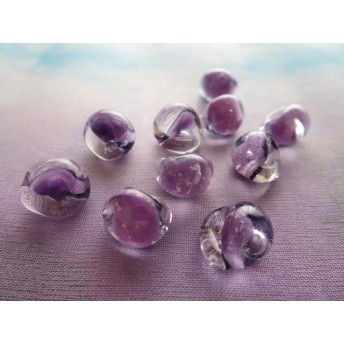 Handmade Teardrop Lampwork Glass Beads GlitterTwilight