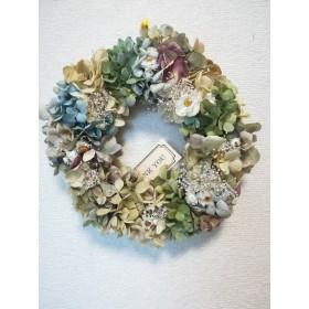 [送料無料]ドライフラワーリース◆あじさいと白いお花と、