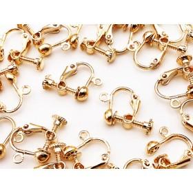 送料無料 イヤリングパーツ ゴールド KC金 丸皿 20個 カン付き ネジバネ式 イヤリング パーツ アクセサリー ハンドメイド 素材 (AP0514)
