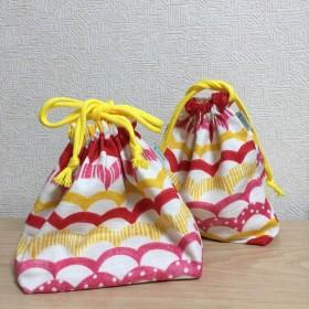 波の様な可愛い柄☆入園準備セット!お弁当袋とコップ袋の2点セットです。