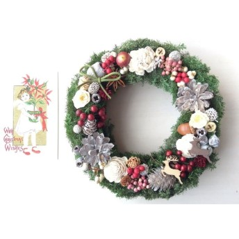 トナカイと木の実のクリスマスリース*
