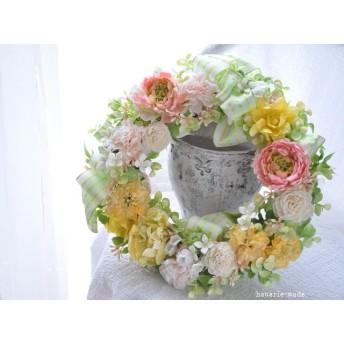 1月17日以降発送予定:ピーチピンクのラナンキュラスとパステルカラー:Wreath