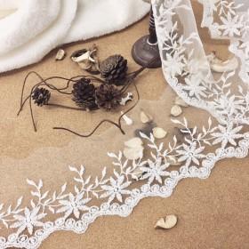 お花と葉 チュールレース 白 BK170509 ハンドメイド 手芸 素材