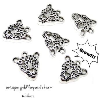 6pcs) antique silver leopard charm