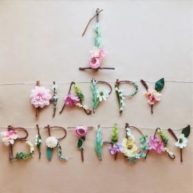 [数字セット(名前追加可)] フラワー×ウッドガーランド バースデーガーランド 誕生日