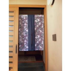 オーバルプリントと紺ちぢみの手作り夏暖簾