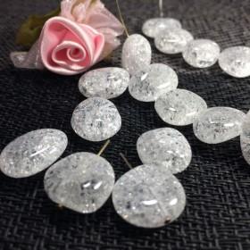 【素材天然石】SALE 冷やり~クラック水晶(爆裂)タンブル 3個