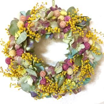 【母の日の贈り物】ミモザと紫陽花&ポポラスユーカリと千日紅のリース