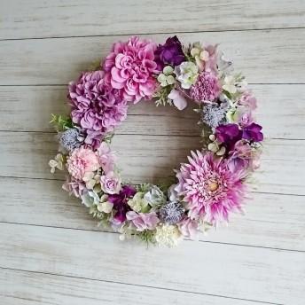 優しい春のピンクパープル♪フラワーリース