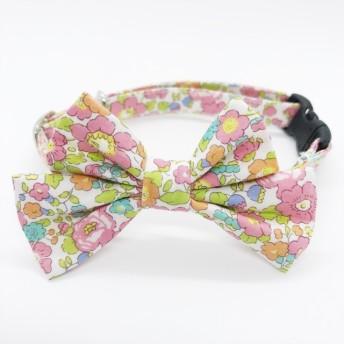 〈新作〉猫 首輪 リボン中 ピンク&グリーン 花柄 リバティプリント×Betsy Ann