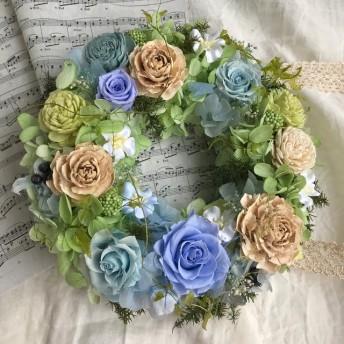 プリザーブドフラワーリース*薔薇、紫陽花*シダローズ*ソーラーローズ*敬老の日プレゼント
