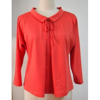 リボン大好き小さい衿付きTシャツ(レッドオレンジ)