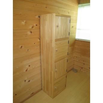 扉付木製収納棚(4段)
